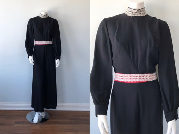 Vintage Black Wide Leg Jumpsuit, 1970s Jumpsuit, W