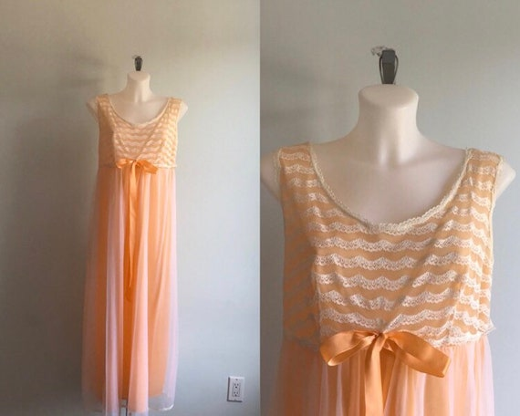 Vintage Nightgown, Louis Jean Model, 1960s Chiffon
