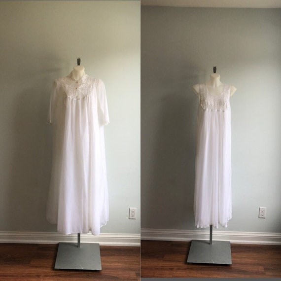 Vintage White Peignoir Set, French Maid, 1970s Whi