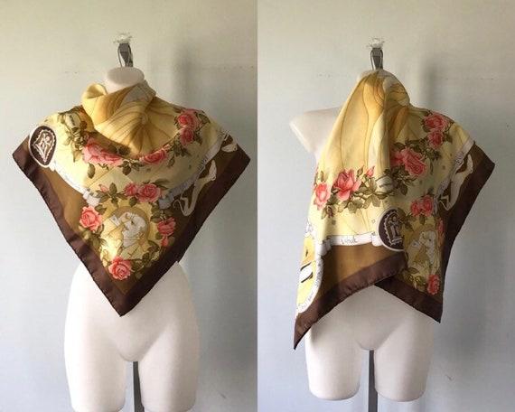 Vintage Silk Scarf, Vintage Battistoni Silk Scarf,