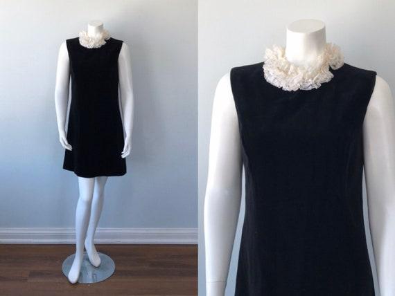1960s Black Velvet Dress, the May Co., Vintage Bla