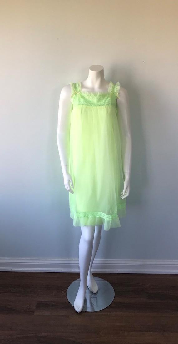 Vintage Florescent Green Short Chiffon Nightgown,… - image 2