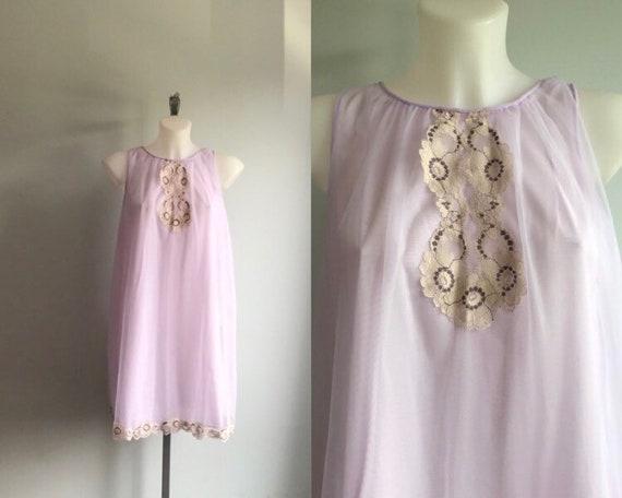 Vintage Lavender Chiffon Nightgown, Lavender Short