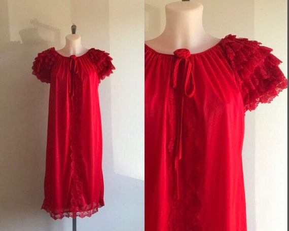 Vintage Red Nightgown, Vintage Nightgown, 1960s Ni