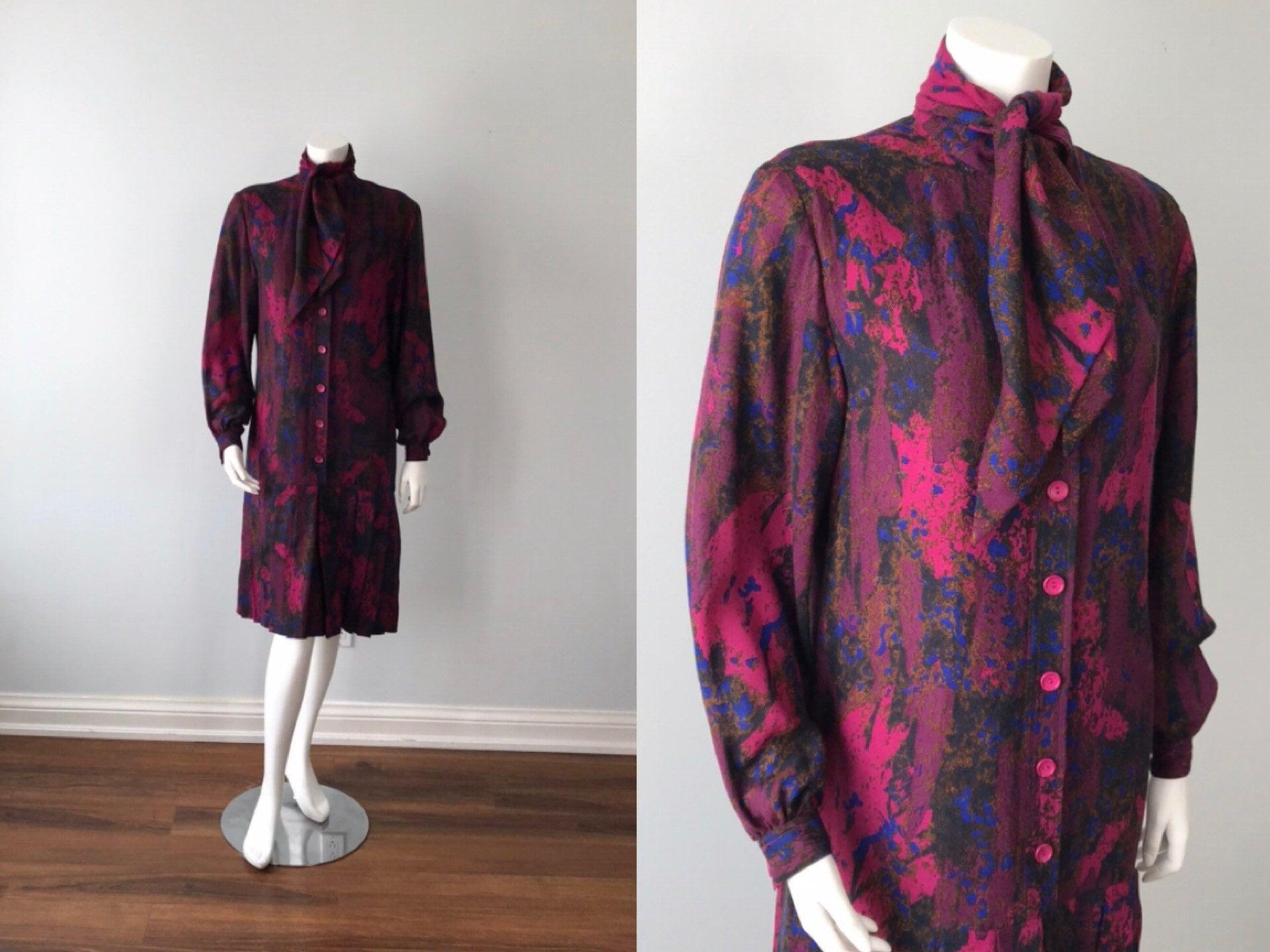 80s Dresses | Casual to Party Dresses Jl Scherrer, Vintage Fall Dress, 1980S Scherrer Boutique, Silk Casual High Fashion Dress $95.00 AT vintagedancer.com