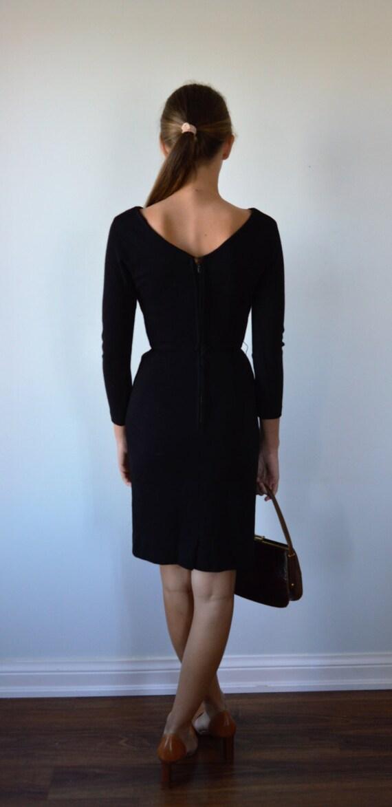 Vintage Black Dress, 1950s Black Dress, Black Coc… - image 4