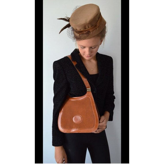 Vintage Handbag, 1970s Handbag, Tan Leather Handba