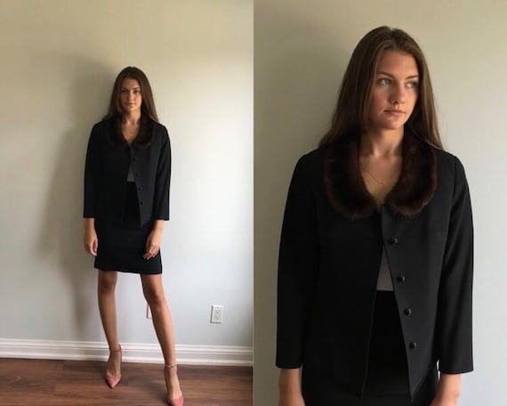 Vintage Modell Velisch Black Wool Skirt Suit, Blac