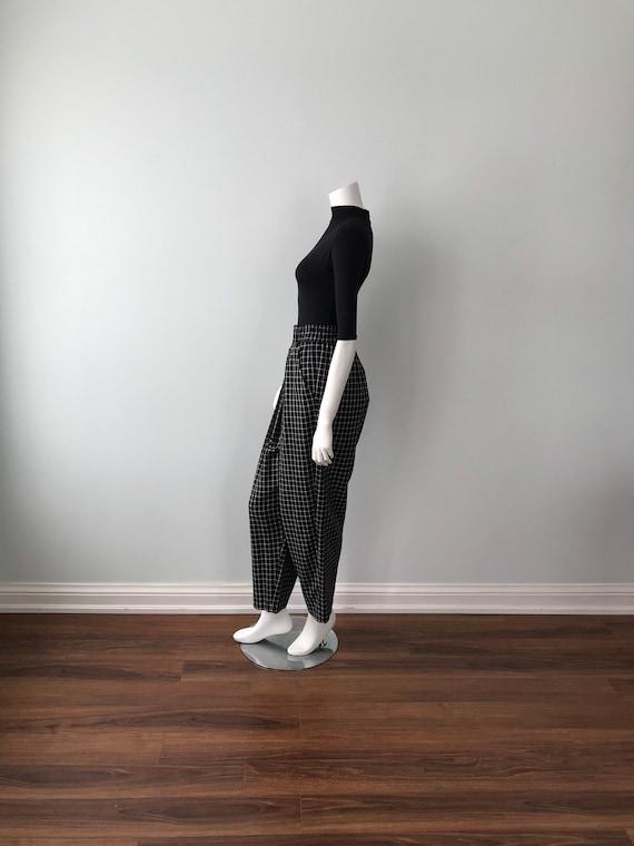 Vintage Kenzo Ladies Pants, Black and White Check… - image 6