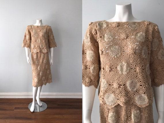 1980s Crochet Skirt and Top, Kyoyko, Hand Crochet