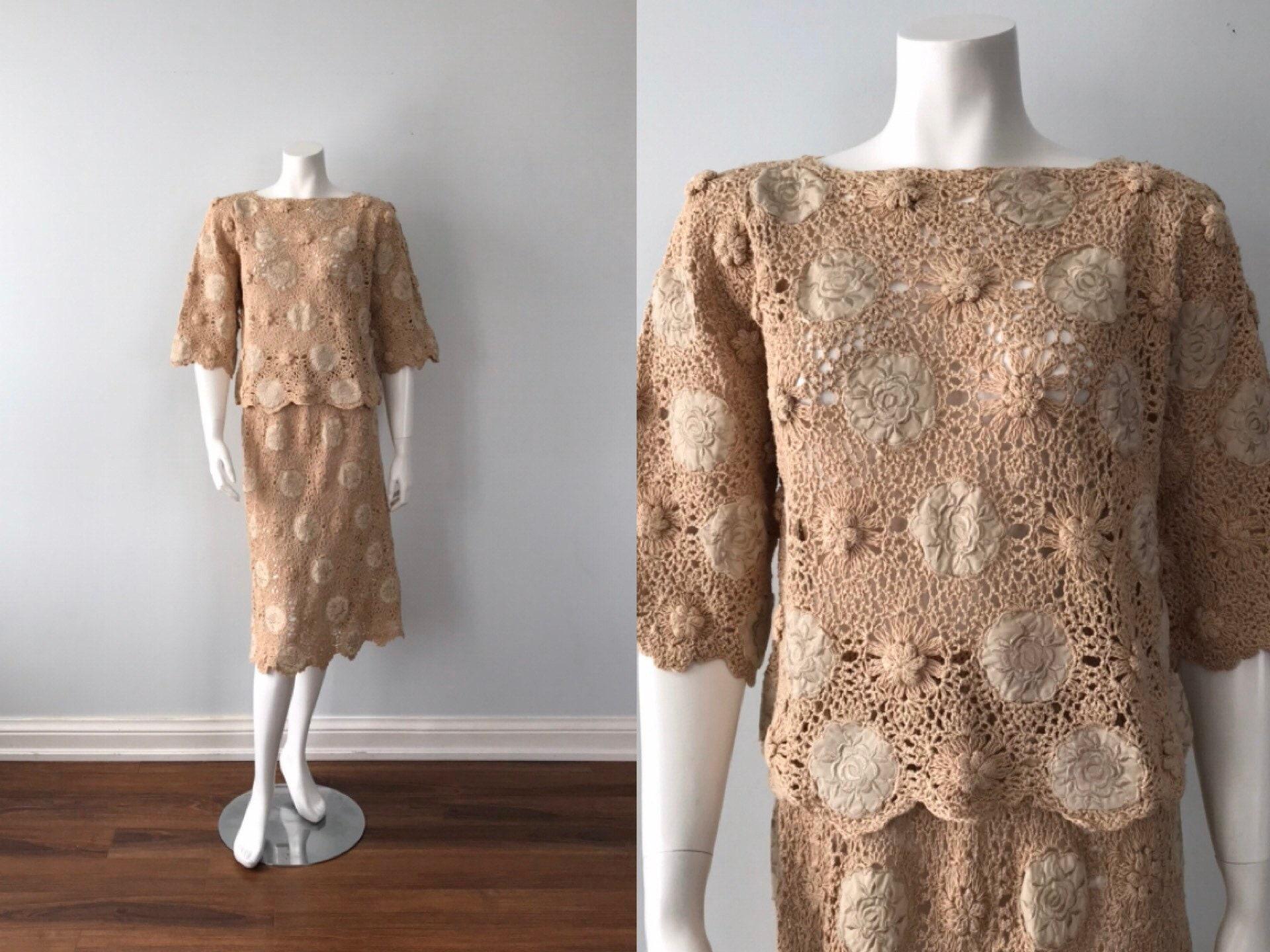 80s Sweatshirts, Sweaters, Vests | Women 1980S Crochet Skirt  Top, Kyoyko, Hand Set, Sweater Set $135.00 AT vintagedancer.com