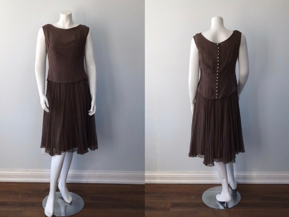 Vintage 1960s Malcolm Starr, 1960s Dress, Silk Chi