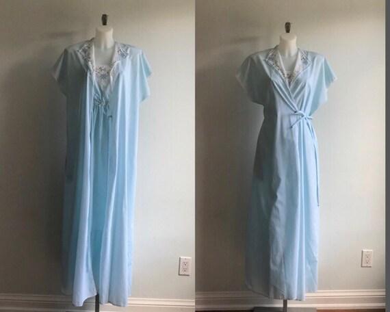 Vintage Blue Peignoir Set, Vintage Peignoir Set, V