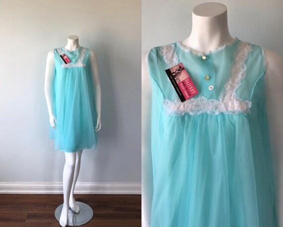 Vintage Aqua Chiffon Nightgown, Vintage Chiffon Ni