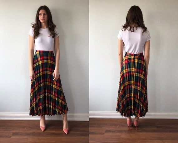 Vintage Plaid Pleated Skirt, 1960s Skirt, Pleated