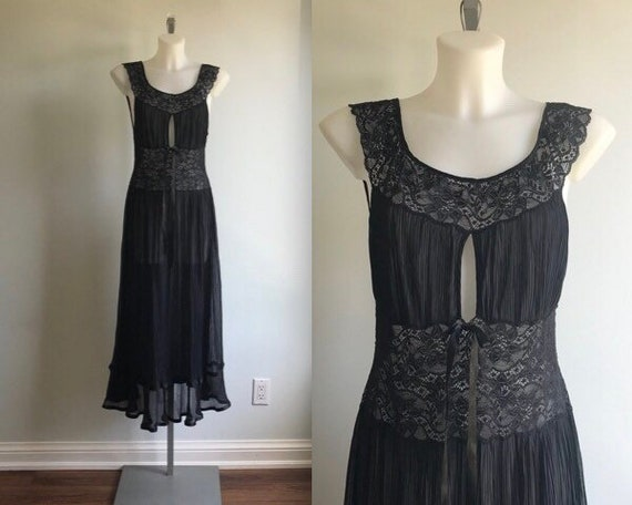 Vintage Black Nightgown, 1970s Nightgown, Lace and