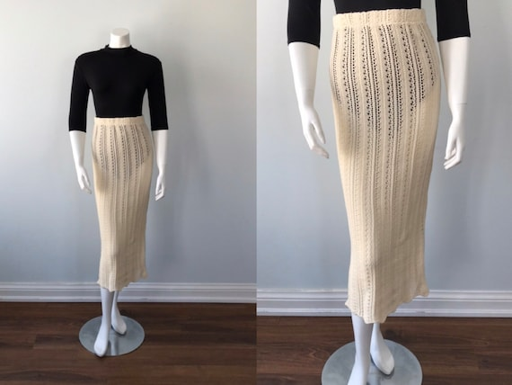 Vintage Cream Knit Skirt, Cream Knit Skirt, 1980s