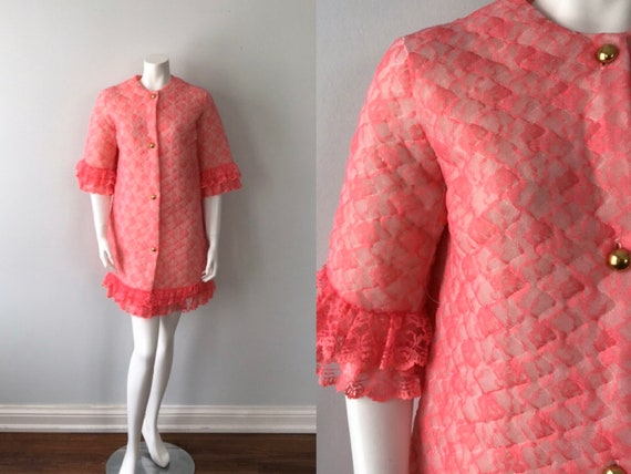 Vintage Pink Lace Quilted Robe, Short Robe, Pink R