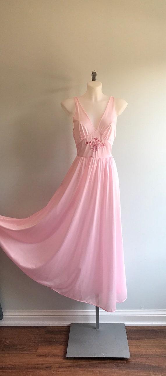 Vintage Pink Nightgown, 1970s Nightgown, Lov Lee,… - image 2