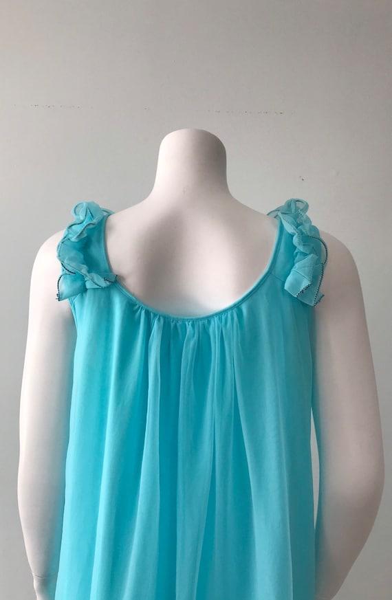 Vintage Aqua Chiffon Nightgown, Canadian Maid, 19… - image 8