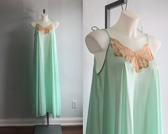 Vintage Nightgown, Mint Green Nightgown, Lov Lee,