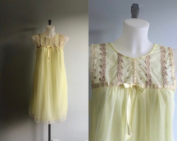 Vintage Yellow Chiffon Nightgown, 1960s Nightgown,