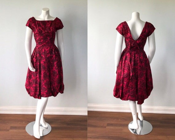 1950s Rose Print Dress, Prom Dress, Wedding, Eveni
