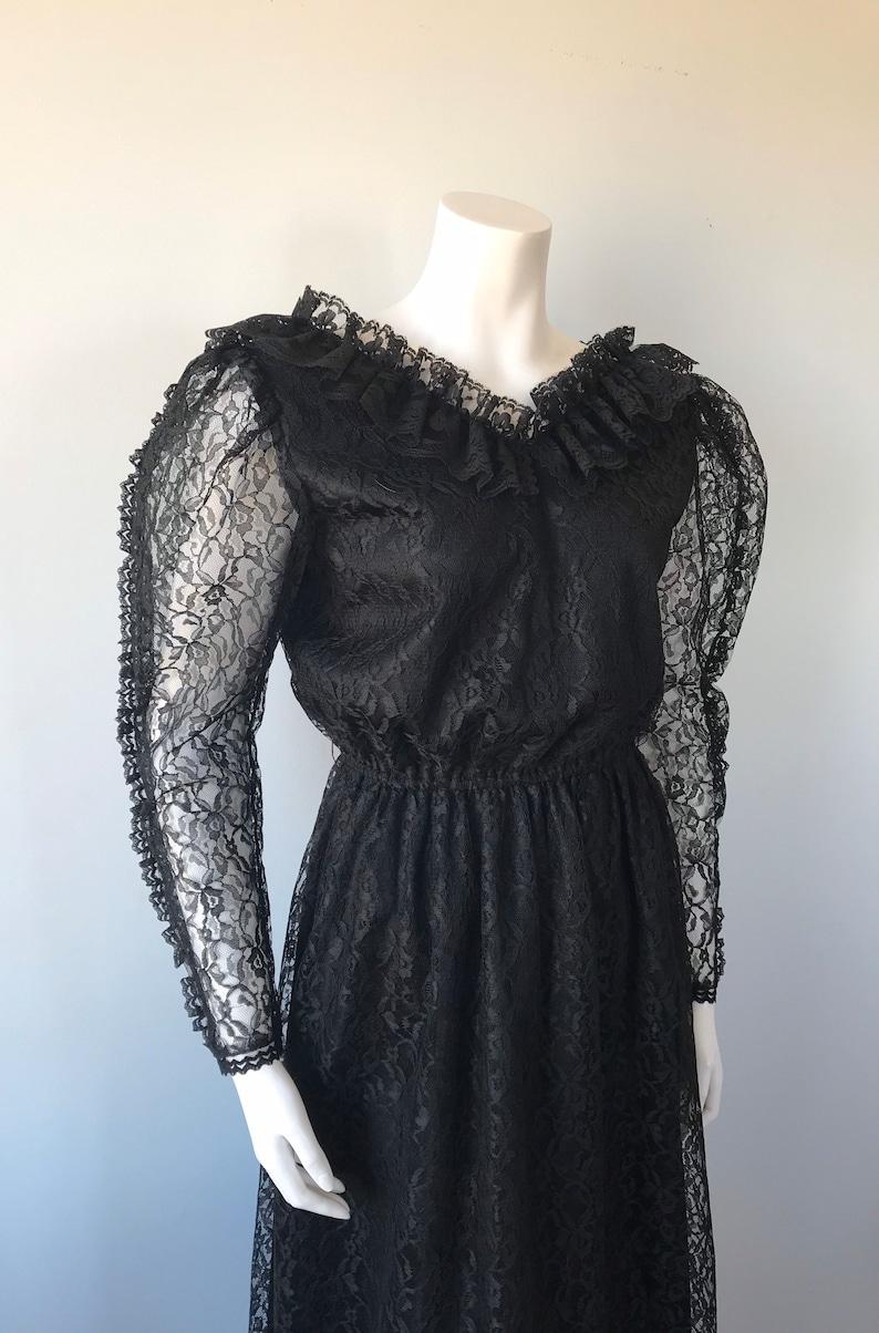 Vintage Black Lace Dress 1970s Lace Dress 1970s Dress Black Lace Dress Evening Dress Pat Mcdonagh Evening Dress