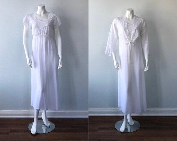 Vintage White Peignoir Set, White Peignoirs, 1980s