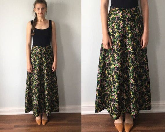 Vintage Black Floral Maxi Skirt, 1970s Skirt, Blac