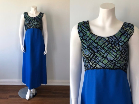 Vintage 1970s Maxi Dress, Vintage Evening Gown, Sl