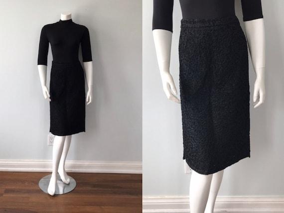 Vintage Black Ribbon Work Skirt, 1950s Skirt, Blac