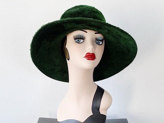Vintage Borsalino Green Brushed Melusine Hat, Wide