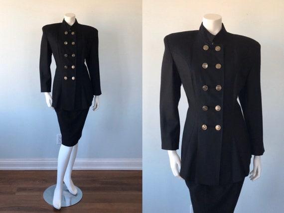 Vintage Black Wool Suit, Military Style Black Suit