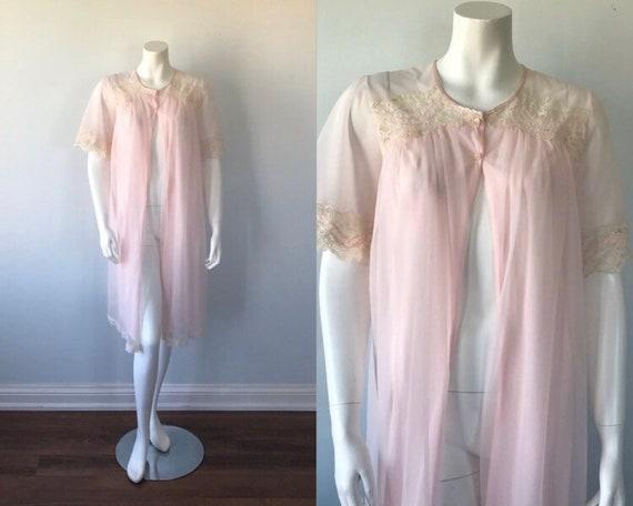 Vintage Pink Chiffon Robe, French Maid, 1960s Chif
