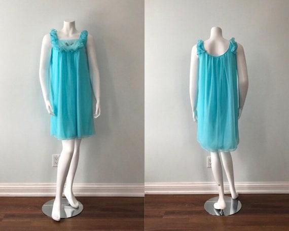 Vintage Aqua Chiffon Nightgown, Canadian Maid, 196