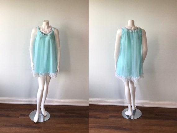 Vintage Aqua Chiffon Nightgown, D'Allards, 1960s N