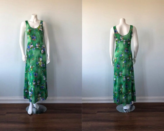 1970s Nightgown, Kayser, Vintage Nightgown, Green