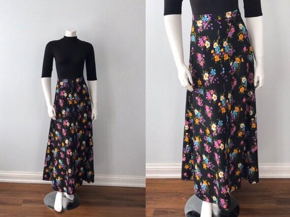 1970s Black Floral Maxi Skirt,  Vintage Maxi Skirt