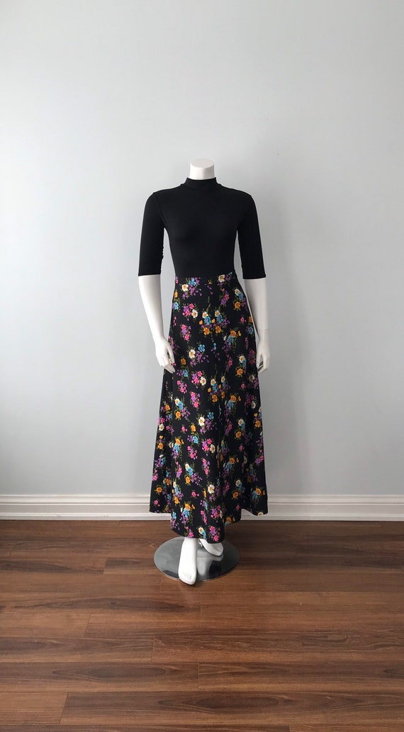1970s Black Floral Maxi Skirt,  Vintage Maxi Skir… - image 2
