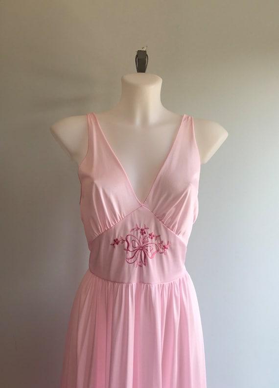 Vintage Pink Nightgown, 1970s Nightgown, Lov Lee,… - image 4
