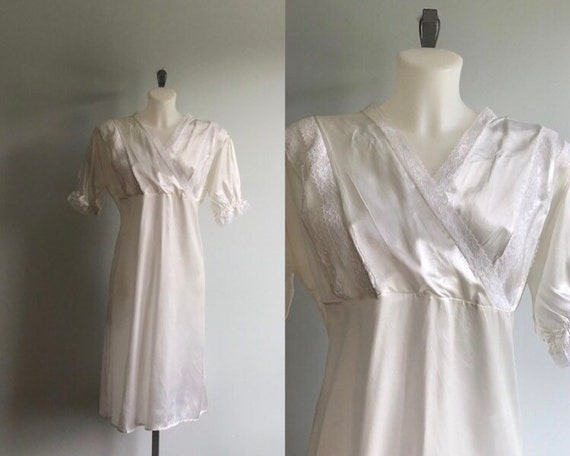 1940s Ivory Satin Nightgown with Panties, 1940s Li