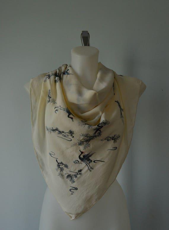 Vintage Silk Scarf, 1960s Silk Scarf, Triangle, Ha