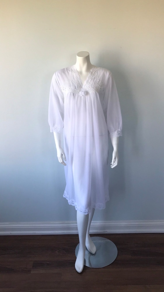 Vintage White Double Chiffon Nightgown, 1970s Nig… - image 2