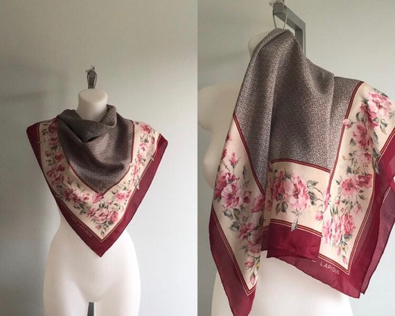 Vintage Silk Scarf, Ted Lapidus, Floral Silk Scarf
