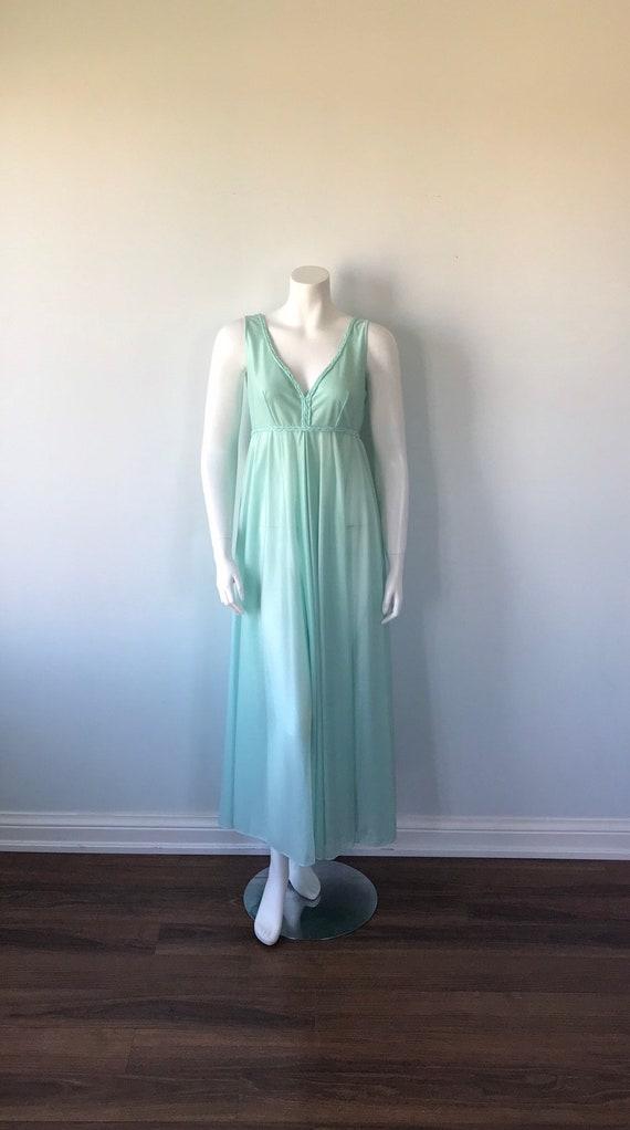 Vintage Mint Green Nightgown, 1970s Nightgown, Li… - image 2