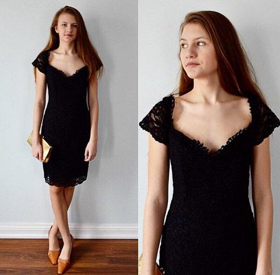 Vintage Black Lace Cocktail Dress 1990s Cocktail Dress Black Lace Dress Algo Pretty Women Black Lace Dress