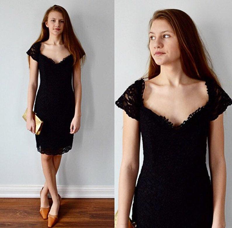 ad0f295f7f Vintage Black Lace Cocktail Dress 1990s Cocktail Dress Black