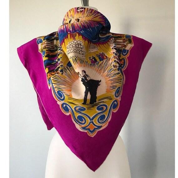Vintage Silk Scarf, 1980s Silk Scarf, Fucshia Silk