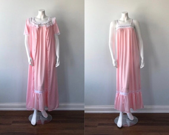 Vintage Pink Peignoir Set, French Maid, Vintage Pe
